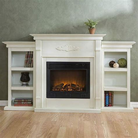 White Electric Fireplace W Bookshelves Remote Ebay White Electric Fireplace With Bookcase