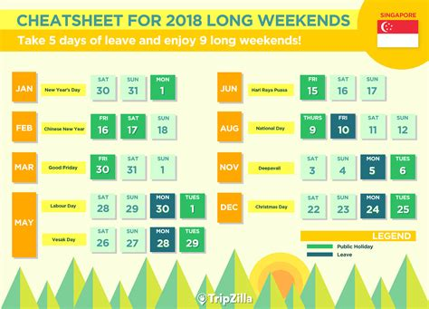 new year 2018 holidays in singapore 9 weekends in singapore in 2018 bonus calendar