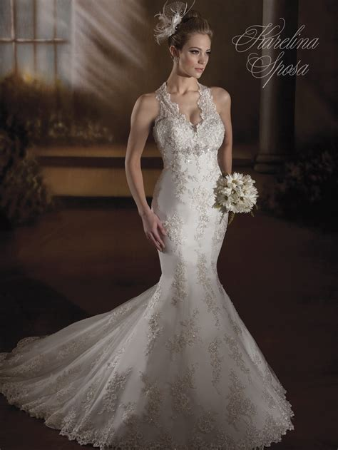 wedding hairstyles for halter dresses karelina sposa style c7872 tulle v neck halter
