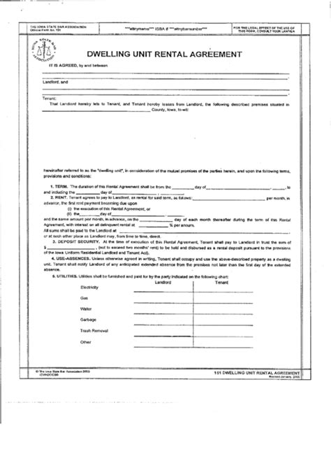 Dwelling Unit Rental Agreement Form The Iowa State Bar Association Printable Pdf Download Rental Agreement Iowa Template
