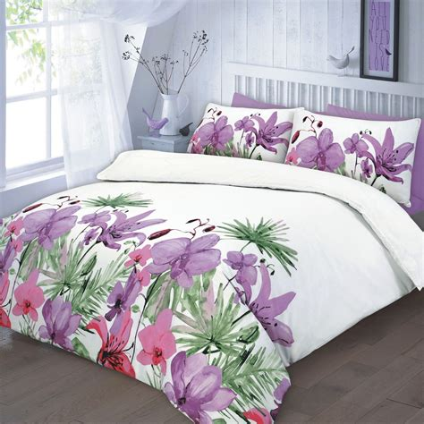 fuchsia bedding floral quilt duvet cover pillowcase teal pink lilac