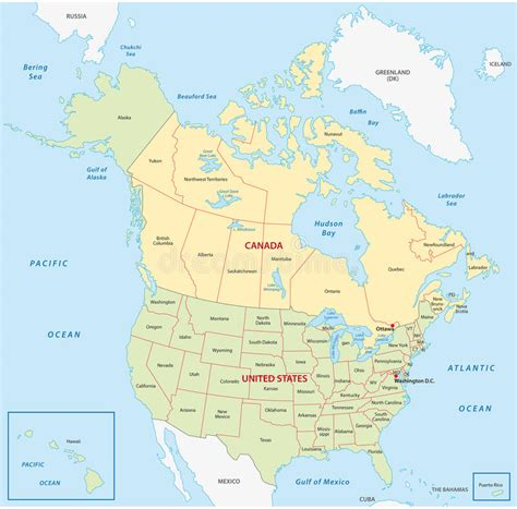 map of canada and the united states map of canada and united states stock illustration