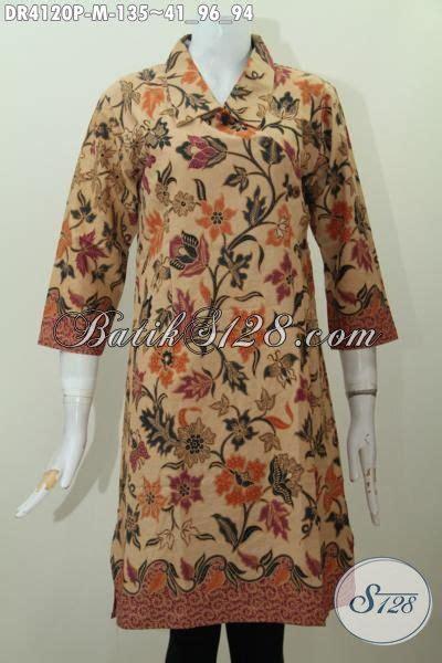 Jaket Bunga Kancing 3242 batik dress model kancing miring bahan halus proses