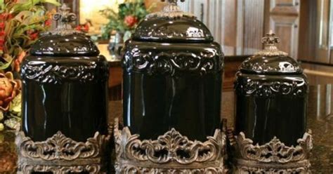 tuscan style kitchen canisters drake design large tuscan fleur de lis black onyx canister