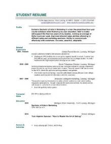 Resume Templates For Graduate School by Student Resume Templates Student Resume Template Easyjob