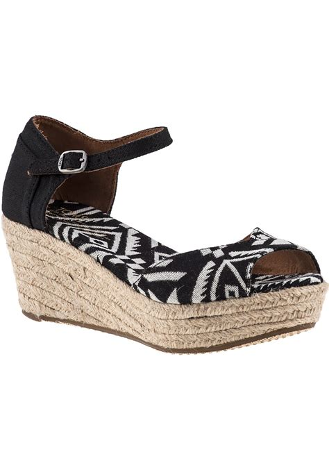 black and white wedge sandals lyst toms platform wedge sandal black white fabric in black