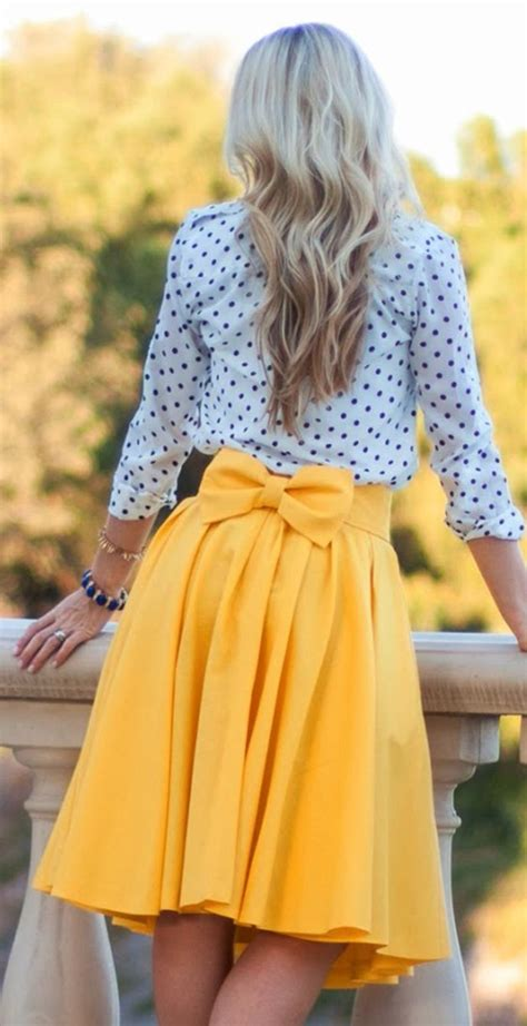 yellow plain bowknot pleated below knee sweet midi skirt