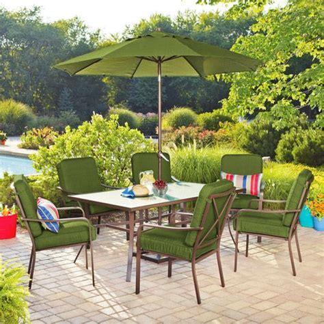 mainstays crossman 7 patio dining set green seats