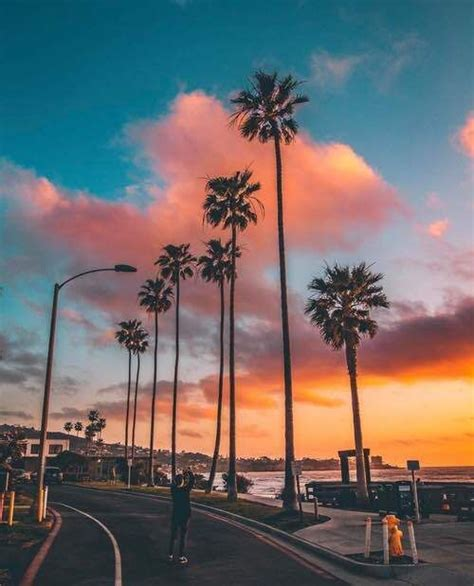 cotton candy skies golden hour sky aesthetic palm