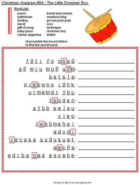printable christmas anagrams christmas drum anagram sheet christmas pinterest