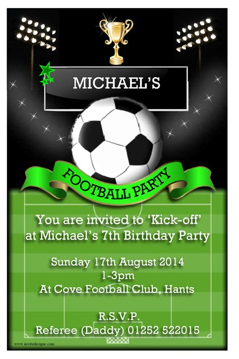 Football Invitation Template by Birthday Invites Awesome Birthday Soccer