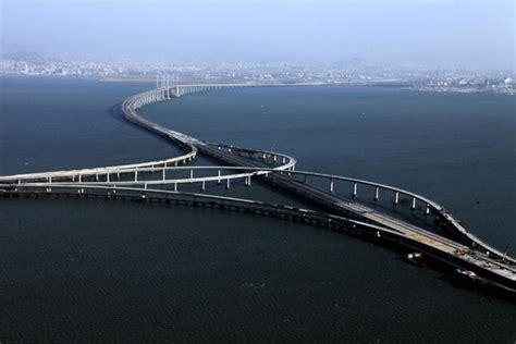 qingdao bridge bridge reaches across the sea off qingdao