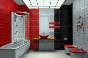 bathroom black red white:  color and pattern red white and black tiles bathroom ideas