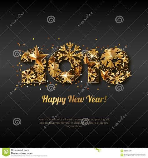 glowing 2018 happy new year happy new year 2018 greeting card with golden numbers