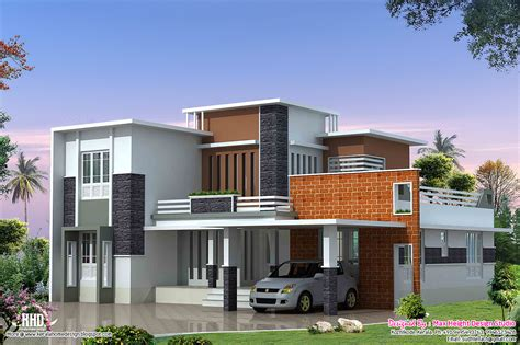 simple contemporary style villa plan 2400 sq modern contemporary villa kerala home