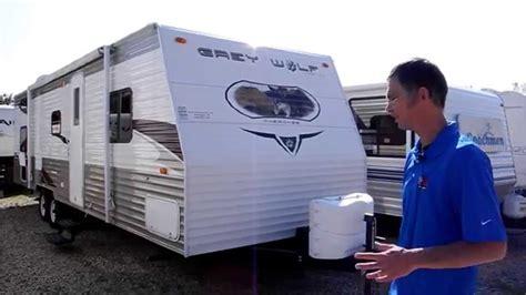 travel trailer with garage 2010 forest river greywolf 28bhg garage travel trailer