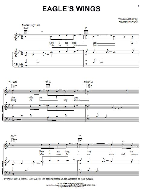 printable lyrics to on eagles wings eagle s wings sheet music direct