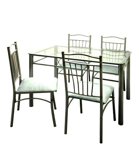 4 Seater Glass Dining Table Furniturekraft 4 Seater Dining Set With Glass Table Top Buy Furniturekraft 4