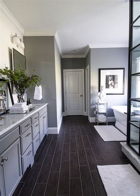 Black And White Bathroom Wall by Gray Walls Black Floors White Accents Brilliant