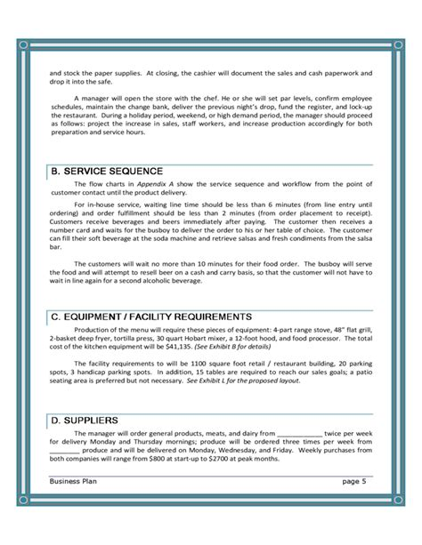 restaurant business plan templates blank restaurant business plan template free