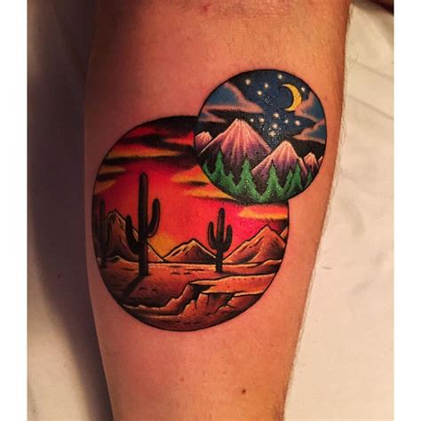 minimalist tattoo with cactus and desert