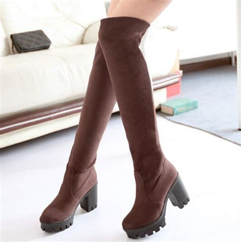 thick heel stretch tight the knee boots