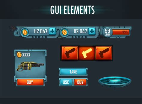 design elements in games gui elements on behance games pinterest behance