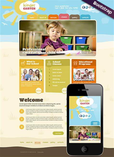 cartoon themes wordpress kindergarten cartoon style wordpress theme