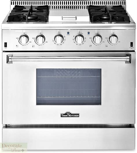 Oven Gas Standing thor kitchen gas range 36 quot free standing 4 burners griddle