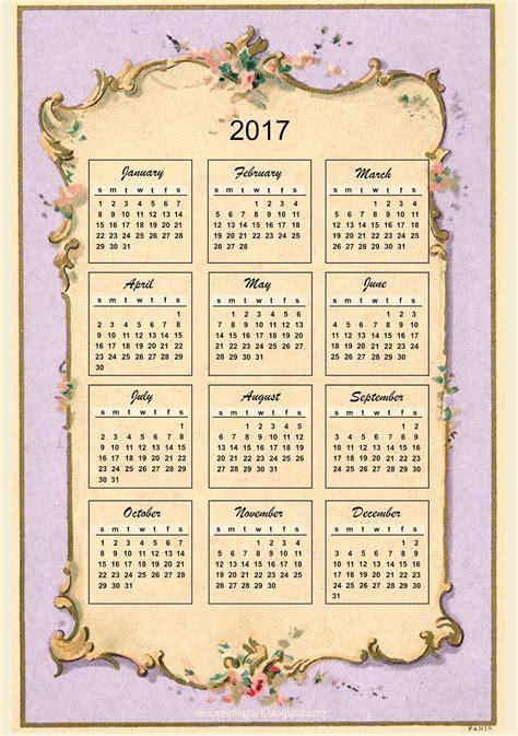 Calendar 2018 Vintage Free Printable 2017 Vintage Design Calendar