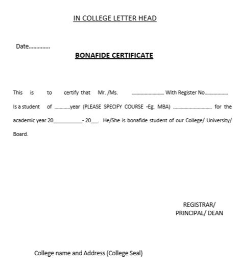 application letter for bonafide certificate from school 10 free sle bonafide certificate templates printable