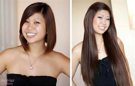 hair extensions for short hair before after hair extensions before after images medium and short hair