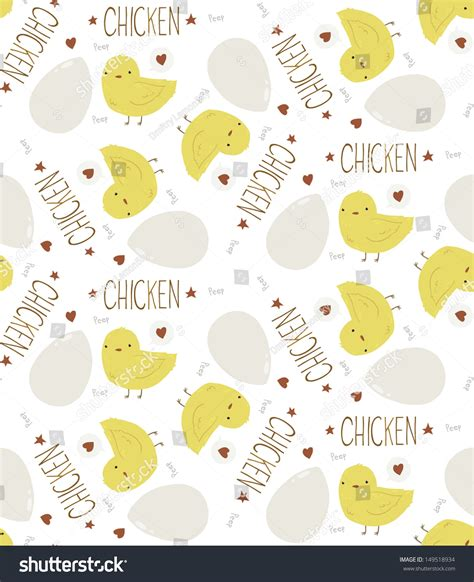 yellow egg pattern cute yellow baby chicken seamless background stock vector