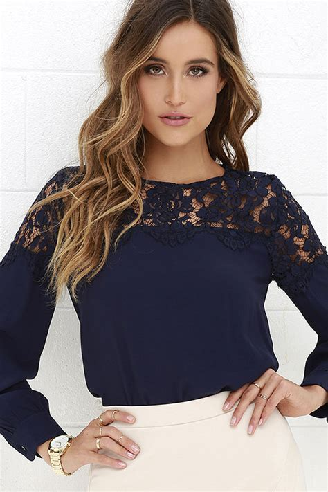 Top Navy by Lace Top Navy Blue Shirt Sleeve Top 48 00