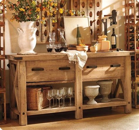 pottery barn buffet table rustic x end table