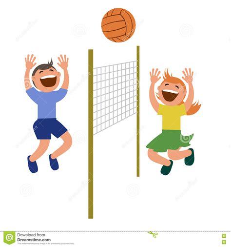 clipart bambini che giocano insieme dei bambini che giocano pallavolo illustrazione
