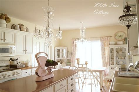 Hanging Light Fixtures For Dining Rooms crystal chandeliers shabby romantic kitchen white lace