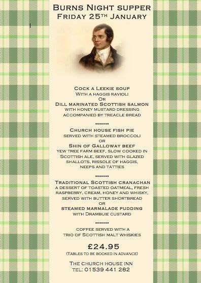 burns supper menu template menu for burns supper scottish