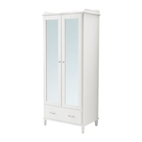 Ikea Wardrobes With Mirror by Tyssedal Wardrobe White Mirror Glass 88x58x208 Cm Ikea