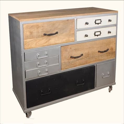 Rolling Drawers by Industrial Iron Wood 9 Storage Drawer Dresser Chest Of