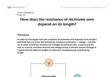 a resistor made of nichrome wire is used in an application where its resistance how does the resistance of nichrome wire depend on its length gcse science marked by
