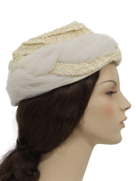 1950s vintage hat 50s union label womens white