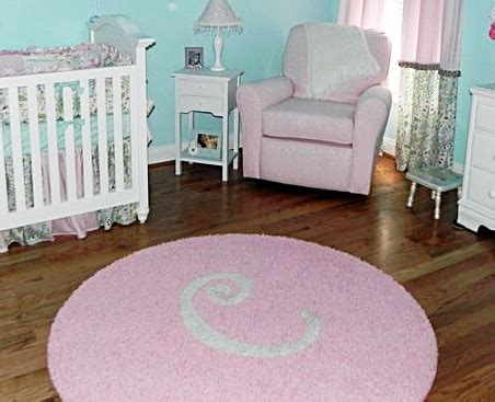 white rug nursery aqua light pink white nursery with custom initial rug project nursery