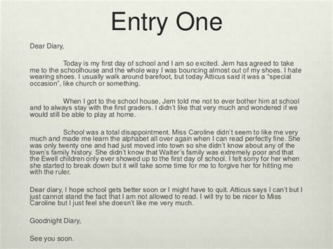 of a school i am a student with to a mockingbird diary entry s Diar