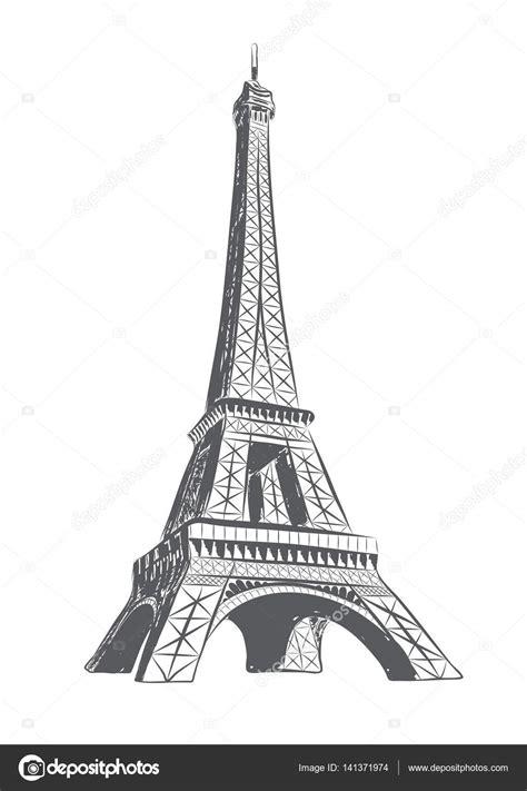 Torre Eiffel desenhado no estilo de desenho — Vetores de