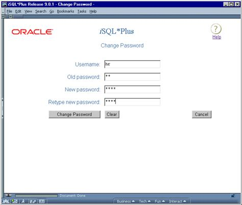 change password screen design the isql plus user interface 4 of 4