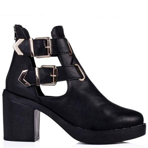 buy hadley block heel cut out biker ankle boots black