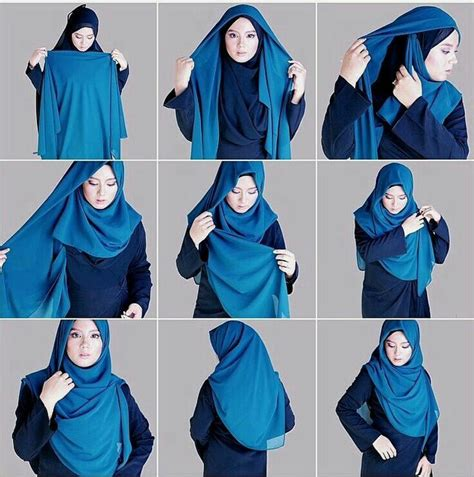 tutorial hijab labuh cara pakai tudung bawal labuh bidang 60 yang cantik mudah