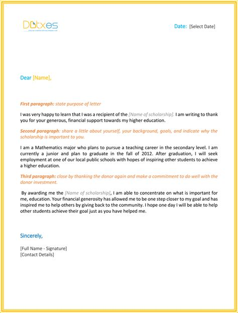Scholarship Thank You Letter Format Scholarship Thank You Letter 7 Sle Templates You Should Send
