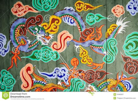 traditional pattern of korean castle gate stock image